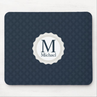 Classy Masculine Dark Blue Custom Monogram Mouse Pad