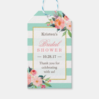 Classy Mint Green Floral Bridal Shower Thank You