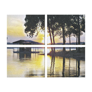 Classy Modern Contemporary Lake Sunset Canvas Print