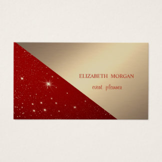 Classy Modern Geometric,Abstract Faux Gold,Red Business Card