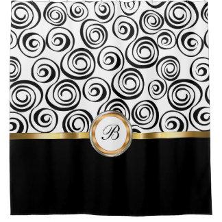 Classy Modern Monogram Shower Curtain