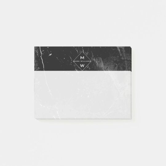 Classy Modern Name Initials Monogram Black Marble Post-it