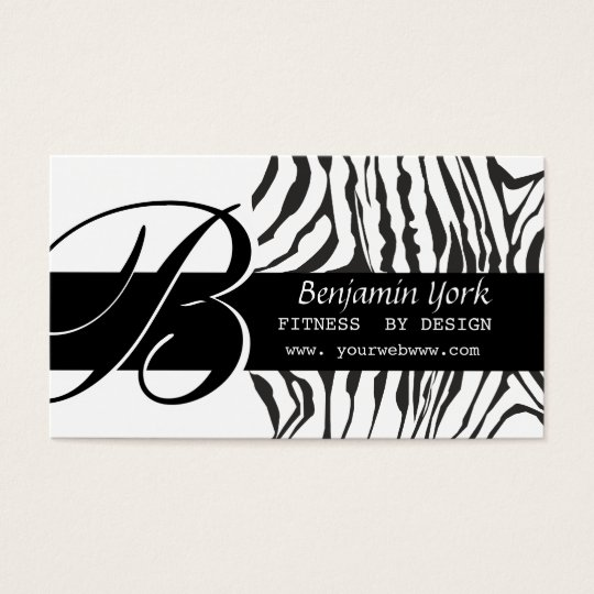 Classy Monogram Black Zebra Striped Pattern Business Card