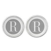 Classy Monogram Silver White Cufflinks