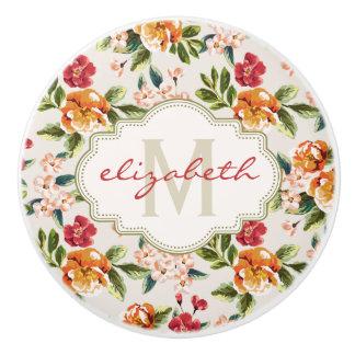 Classy Monogram Vintage Victorian Floral Flowers Ceramic Knob