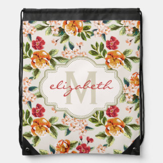Classy Monogram Vintage Victorian Floral Flowers Drawstring Bag