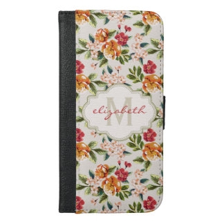 Classy Monogram Vintage Victorian Floral Flowers iPhone 6/6s Plus Wallet Case