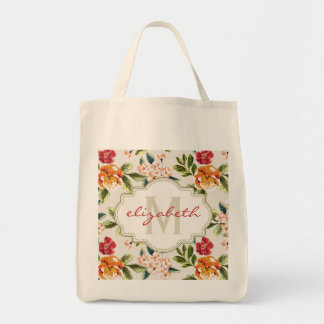 Classy Monogram Vintage Victorian Floral Flowers Tote Bag