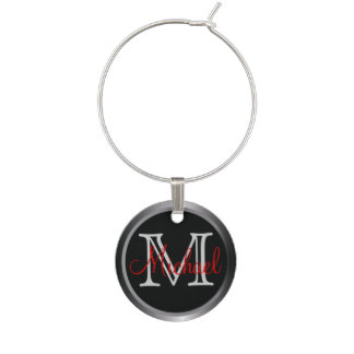 Classy Monogrammed Name Charm Wine Charms
