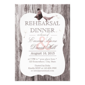 Classy Mr. & Mrs. Birds Wood Rehearsal Dinner Personalized Announcement