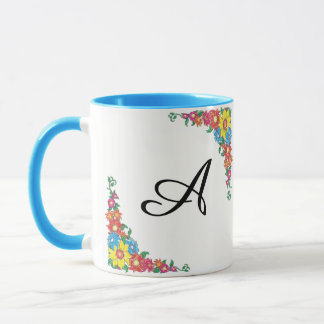 Classy Mug with Flowers & Initial