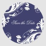 Classy Navy and White Wedding Stickers