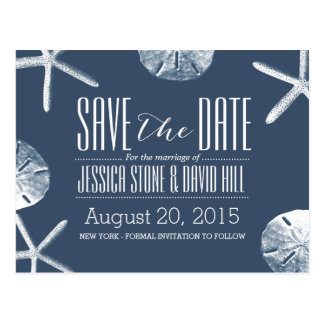 Classy Navy Blue Beach Theme Wedding Save the Date Postcard