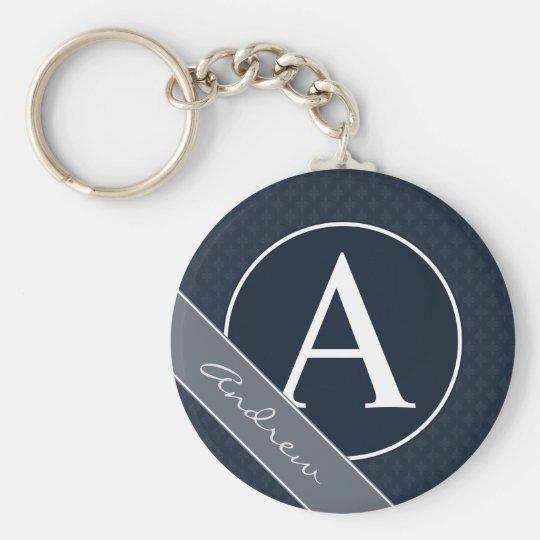 Classy Navy Blue Custom Monogram Key Ring