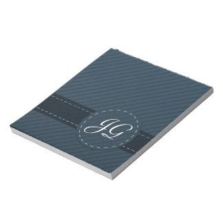 Classy Navy Blue Custom Monogram - Striped Pattern Notepad