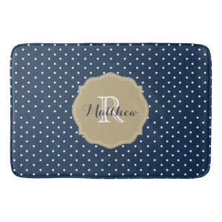 Classy Navy Blue Polka Dots and Coral Monogram Bath Mat