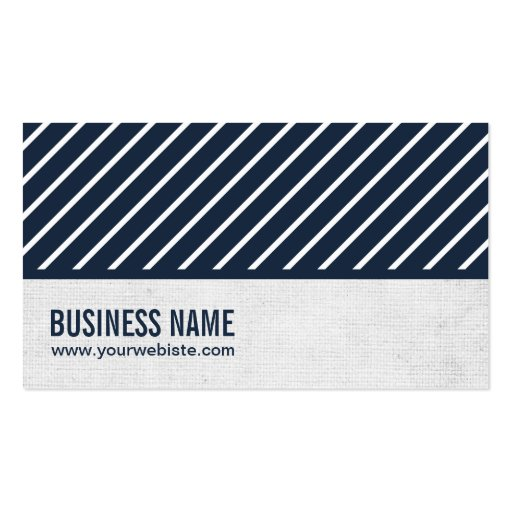 Classy Navy Blue Striped Journalist Business Card