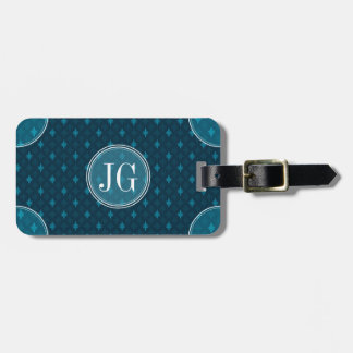 Classy Navy Blue & Teal Geometric Custom Monogram Luggage Tag