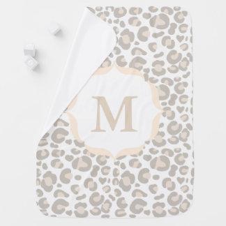 Classy Neutral Cheetah Print & Baby's Initial Baby Blanket