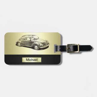 Classy Old car gold Luggage Tag