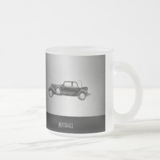 Classy old car silvery frosted glass mug
