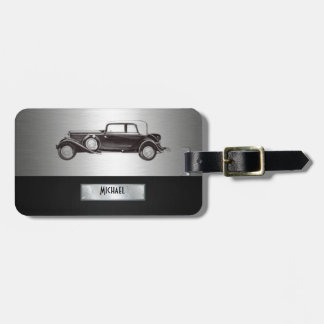 Classy old car silvery luggage tag