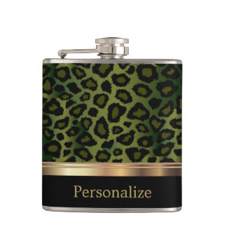 Classy Olive Green Leopard Animal Print Flasks