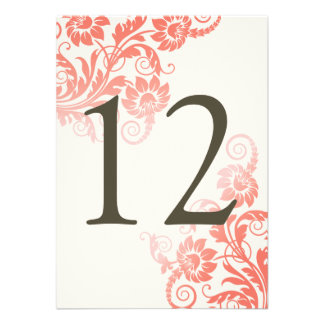 Classy Ombre Coral Table Number Card