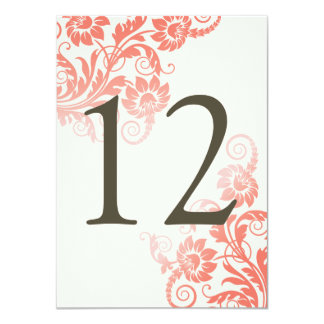 Classy Ombre Coral Table Number Card 11 Cm X 16 Cm Invitation Card