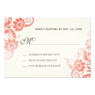 Classy Ombre Coral Wedding RSVP Announcement