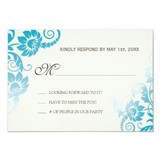 Classy Ombre Shades of Teal Wedding RSVP 9 Cm X 13 Cm Invitation Card