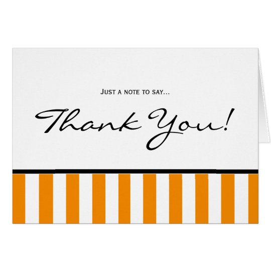 Classy Orange Striped Thank You Note Card