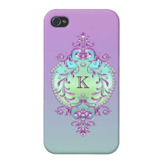 Classy, Ornate Diamonds Monogram iPhone 4 Covers