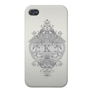 Classy Ornate Diamonds Monogram iPhone 4 Cases