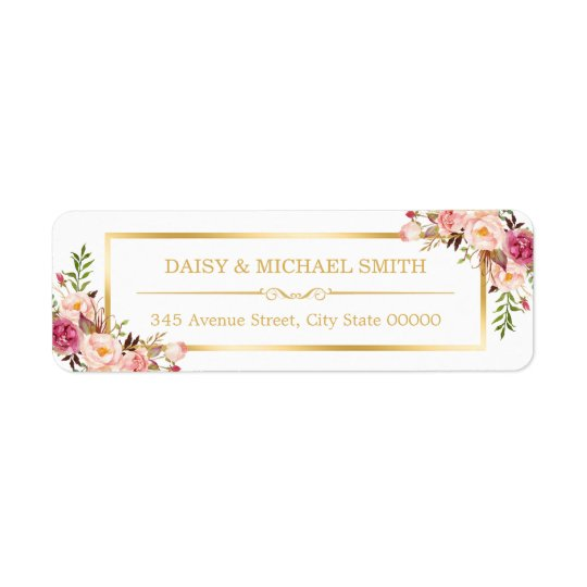 Classy Pastel Flowers White Chic Gold Frame