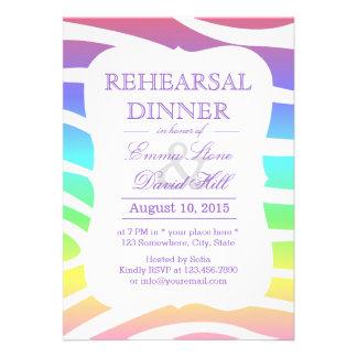 Classy Pastel Zebra Stripes Rehearsal Dinner Invites