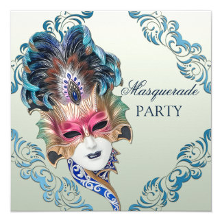 Classy Peacock Feathers Mask Masquerade Party 13 Cm X 13 Cm Square Invitation Card