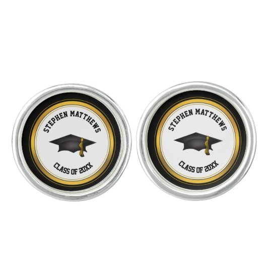 Classy Personalised Graduation Cap and Tassel Cufflinks
