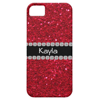 CLASSY PERSONALIZED RED BLING  IPHONE  5 Case Barely There iPhone 5 Case