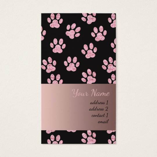classy pink and black pet paw prints pattern