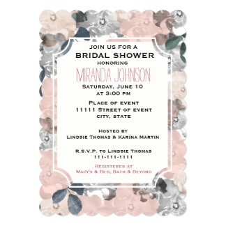 """Classy Pink and Black Roses Bridal Shower 5"""" X 7"""" Invitation Card"""