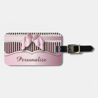 Classy Pink and Brown Striped Design Luggage Tag