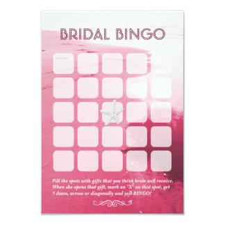 Classy Pink Beach Theme 5x5 Bridal Bingo Cards