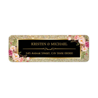 Classy Pink Floral Gold Glitter Sparkles Wedding