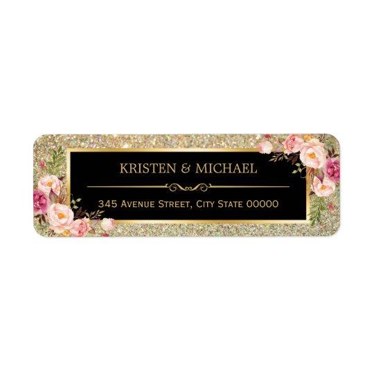 Classy Pink Floral Gold Glitter Sparkles Wedding Return