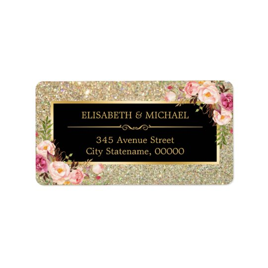 Classy Pink Floral Gold Glitter Sparkling Wedding Address