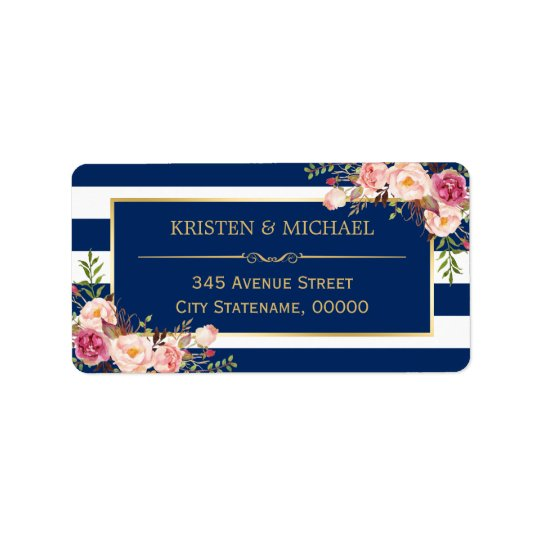 Classy Pink Floral Gold Navy Blue Stripes Address