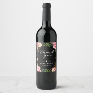 Classy Pink Floral Wrapping Wedding Thank You Wine Label