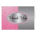 Classy Pink Glitter Brush Steel Metal Look Note Card