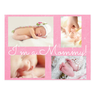 "Classy Pink ""I am a Mommy""  Birth Announcement Postcard"
